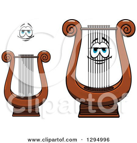 Clipart of a Cartoon Face and Lyre Instruments - Royalty Free Vector Illustration by Vector Tradition SM