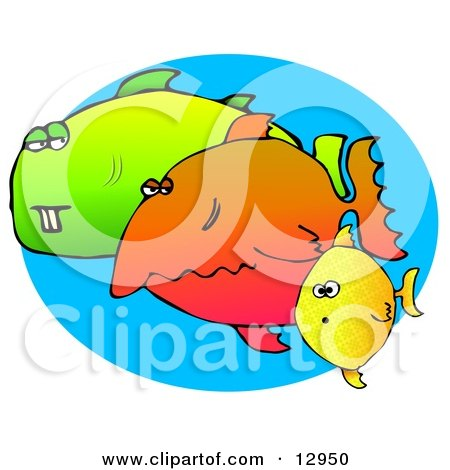 Weird Group of Diverse Fish Swimming in the Sea Clipart Graphic Illustration by djart