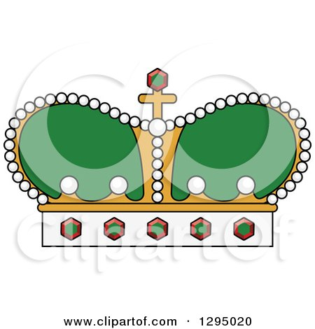 Clipart of a Cartoon Green and Gold Crown - Royalty Free Vector Illustration by Vector Tradition SM