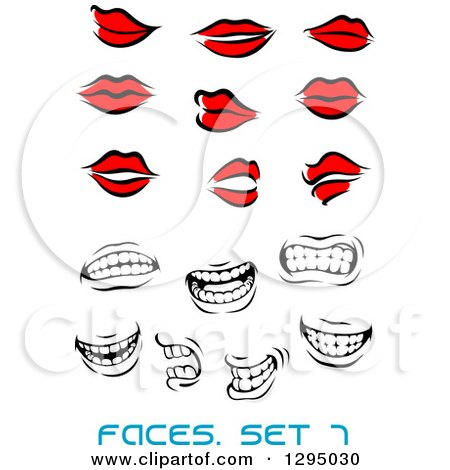 Clipart of Sketched Black and Red Feminine Lips and Grayscale Mouths Showing Teeth - Royalty Free Vector Illustration by Vector Tradition SM