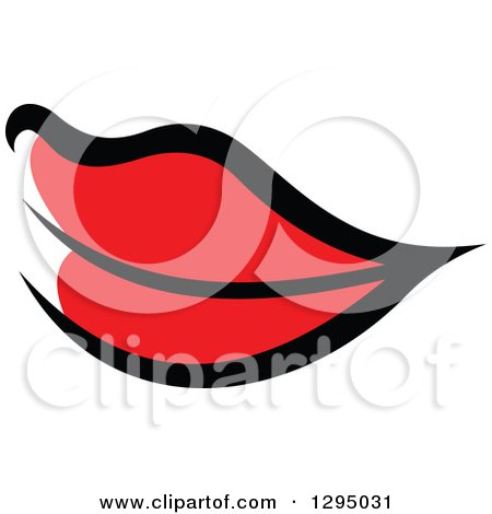 Clipart of Sketched Black and Red Feminine Lips 2 - Royalty Free Vector Illustration by Vector Tradition SM