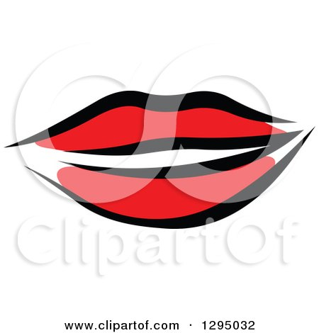 Clipart of Sketched Black and Red Feminine Lips 3 - Royalty Free Vector Illustration by Vector Tradition SM