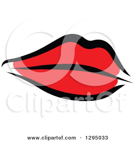 Clipart of Sketched Black and Red Feminine Lips 4 - Royalty Free Vector Illustration by Vector Tradition SM