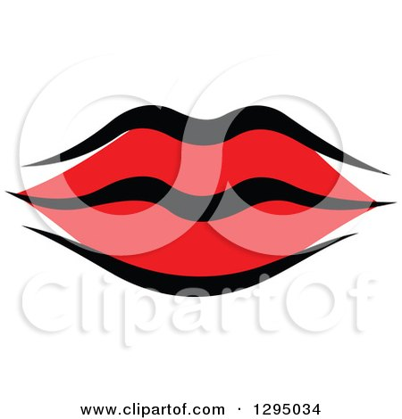 Clipart of Sketched Black and Red Feminine Lips 5 - Royalty Free Vector Illustration by Vector Tradition SM
