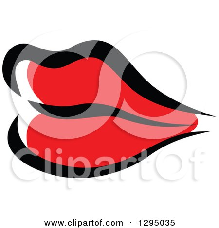 Clipart of Sketched Black and Red Feminine Lips 6 - Royalty Free Vector Illustration by Vector Tradition SM