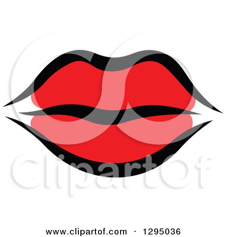 Clipart of Sketched Black and Red Feminine Lips - Royalty Free Vector Illustration by Vector Tradition SM
