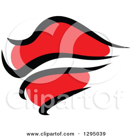 Clipart of Sketched Black and Red Feminine Lips 9 - Royalty Free Vector Illustration by Vector Tradition SM