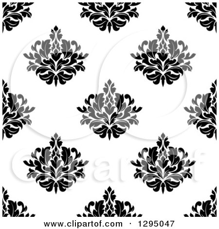 Clipart of a Seamless Pattern Background of Damask in Black on White - Royalty Free Vector Illustration by Vector Tradition SM