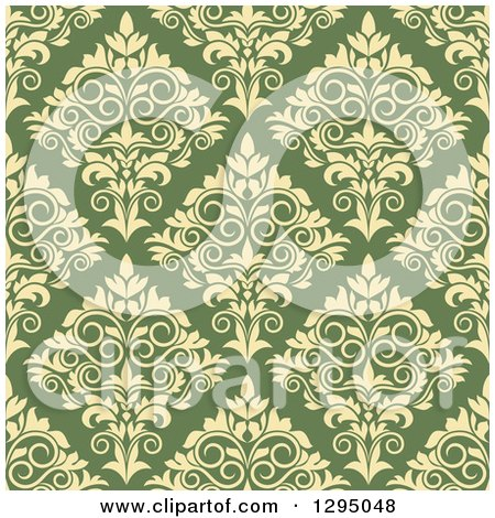 Clipart of a Seamless Pattern Background of Yellow Damask on Green - Royalty Free Vector Illustration by Vector Tradition SM