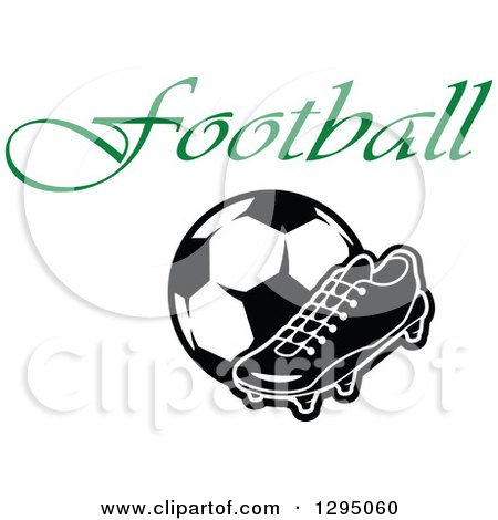 Clipart of a Black and White Cleat Shoe and Soccer Ball Under Green Text - Royalty Free Vector Illustration by Vector Tradition SM