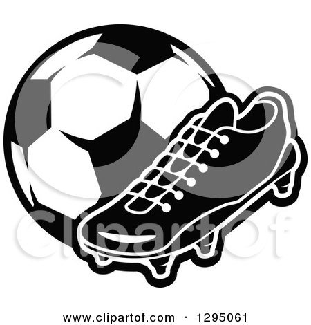 Clipart of a Black and White Cleat Shoe and Soccer Ball - Royalty Free Vector Illustration by Vector Tradition SM