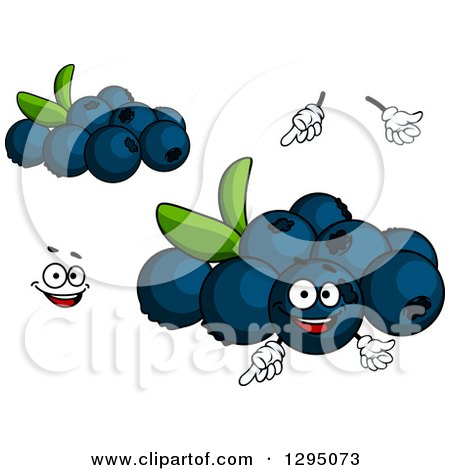 Clipart of a Cartoon Face, Hands and Blueberries - Royalty Free ...