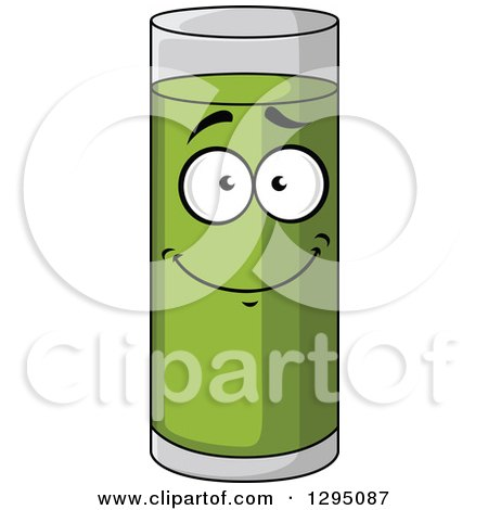 Clipart of a Happy Tall Glass of Pear Juice - Royalty Free Vector Illustration by Vector Tradition SM