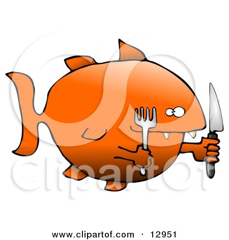 Hungry Killer Goldfish With a Fork and Knife Clipart Graphic Illustration by djart