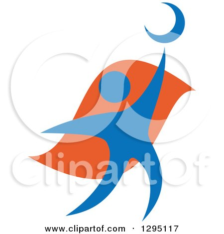 Clipart of a Blue and Orange Person Reaching for the Moon - Royalty Free Vector Illustration by Vector Tradition SM