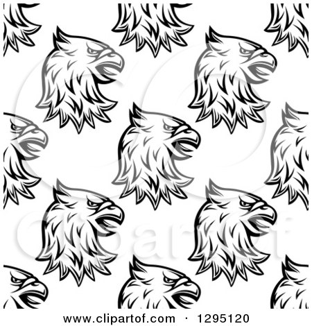 Clipart of a Seamless Background Pattern of Black and White Eagle or Griffin Heads - Royalty Free Vector Illustration by Vector Tradition SM