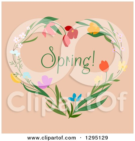 Clipart of a Heart Made of Flowers with Spring Text on Beige - Royalty Free Vector Illustration by Vector Tradition SM