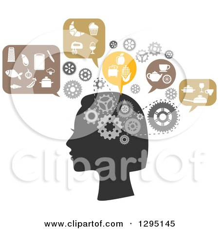Clipart Of A Silhouetted Womans Head With Gear Cogs And Thoughts Of Food And Cooking Royalty Free Vector Illustration