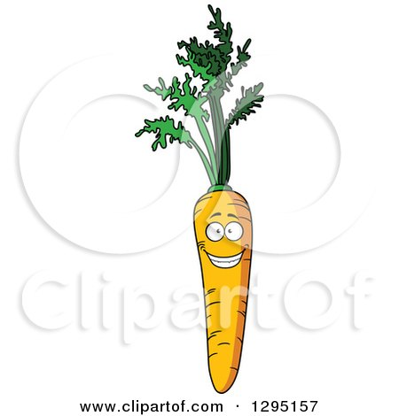 Clipart of a Cartoon Happy Carrot Character with Greens - Royalty Free Vector Illustration by Vector Tradition SM