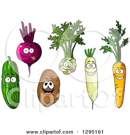 Clipart of Cartoon Happy Cucumber, Beet, Kohlrabi, Daikon Radish, Carrot and Russet Potato Characters - Royalty Free Vector Illustration by Vector Tradition SM