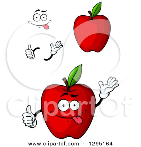 Clipart of a Cartoon Face, Hands and Red Apples - Royalty Free Vector Illustration by Vector Tradition SM