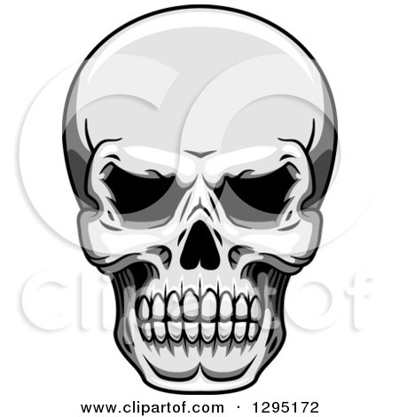 Clipart of a Tough Grayscale Human Skull - Royalty Free Vector Illustration by Vector Tradition SM