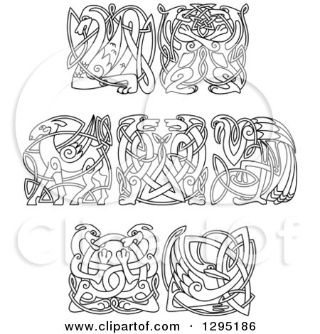 Clipart of Black and White Lineart Celtic Animals - Royalty Free Vector Illustration by Vector Tradition SM