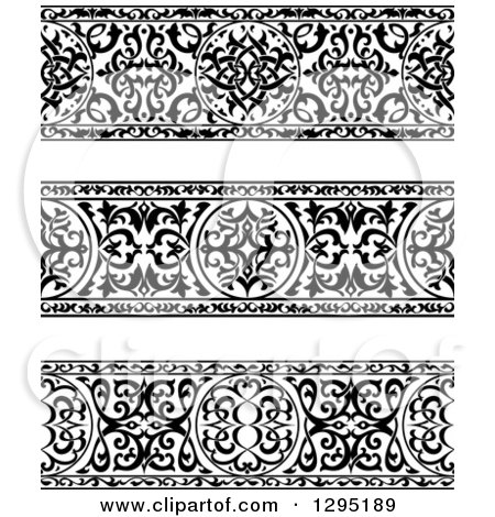 Clipart of Black and White Ornate Floral Arabian Borders 2 - Royalty Free Vector Illustration by Vector Tradition SM