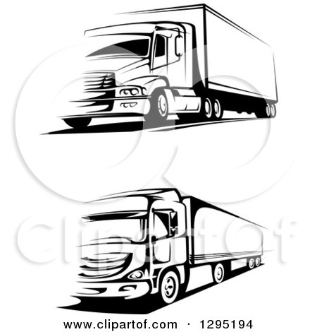 Clipart of Black and White Big Rig Trucks - Royalty Free Vector Illustration by Vector Tradition SM