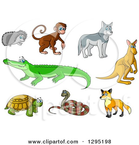 Clipart of a Cartoon Hedgehog, Monkey, Wolf, Kangaroo, Crocodile, Fox, Snake and Turtle - Royalty Free Vector Illustration by Vector Tradition SM