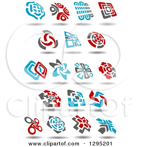 Clipart of Blue, Gray and Red Windmill Designs - Royalty Free Vector Illustration by Vector Tradition SM