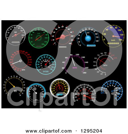 Clipart of Colorful Illuminated Speedometers on Black 4 - Royalty Free Vector Illustration by Vector Tradition SM