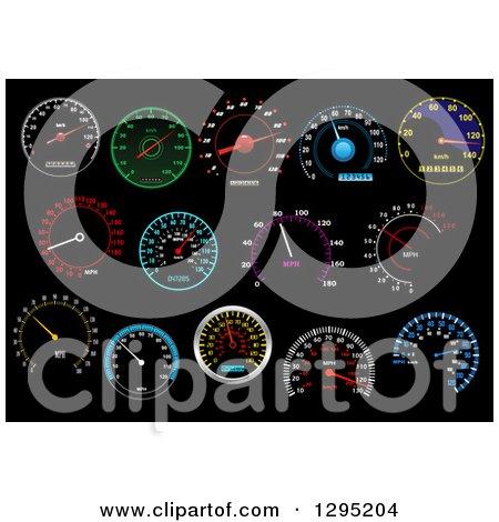 Colorful Illuminated Speedometers on Black 4 Posters, Art Prints