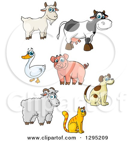 Clipart of Cartoon Happy Farm Animals - Royalty Free Vector Illustration by Vector Tradition SM