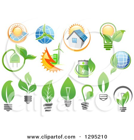 Clipart of Green Energy Designs - Royalty Free Vector Illustration by Vector Tradition SM