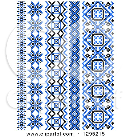 Clipart of Blue Black and White Vertical Native American Styled Borders 2 - Royalty Free Vector Illustration by Vector Tradition SM
