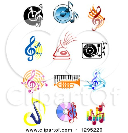 Clipart of Music Instruments Notes and Items - Royalty Free Vector Illustration by Vector Tradition SM