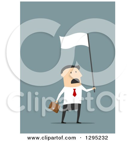 Clipart of a Flat Modern White Businessman Waving a White Flag in Surrender, over Blue - Royalty Free Vector Illustration by Vector Tradition SM