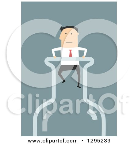 Clipart of a Flat Modern White Businessman Stuck in a Bottle Top, over Blue - Royalty Free Vector Illustration by Vector Tradition SM