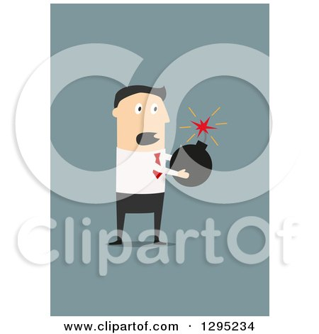 Clipart of a Flat Modern White Businessman Holding a Bomb, over Blue - Royalty Free Vector Illustration by Vector Tradition SM