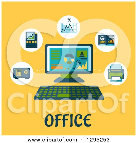 Clipart of a Flat Design Desktop Computer with Icons and Office Text on Yellow - Royalty Free Vector Illustration by Vector Tradition SM