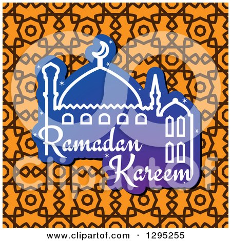 Clipart of a Mosque with Ramadan Kareem Text over a Pattern - Royalty Free Vector Illustration by Vector Tradition SM