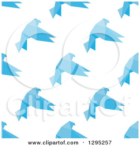 Clipart of a Seamless Background of Flying Blue Geometric Birds - Royalty Free Vector Illustration by Vector Tradition SM