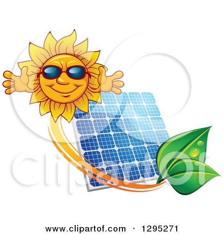 Clipart of a Welcoming Happy Sun Wearing Shades over a Solar Panel Encircled with an Orange Swoosh and Green Leaves - Royalty Free Vector Illustration by Vector Tradition SM