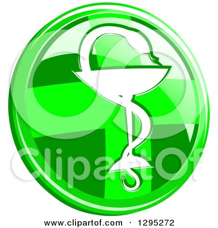 Clipart of a 3d Round Lime Green Cross and Silhouetted Snake and Cup Medical Caduceus Icon Button - Royalty Free Vector Illustration by Vector Tradition SM