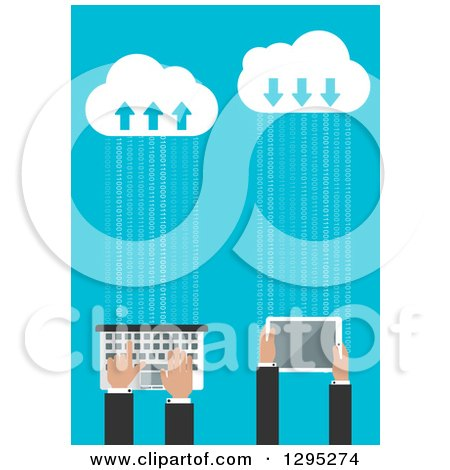 Clipart of a Flat Design of Business Hands Using a Tablet and Computer Connected to the Cloud - Royalty Free Vector Illustration by Vector Tradition SM