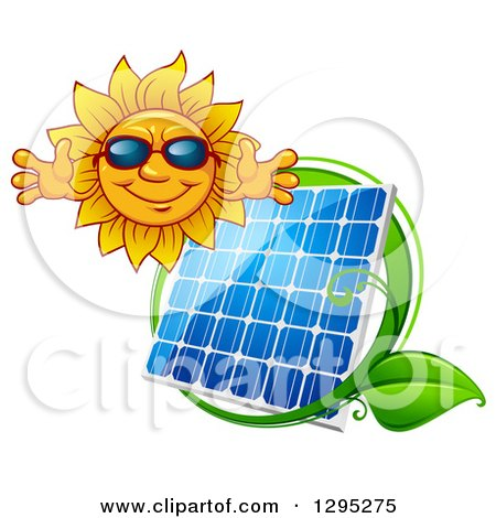 Clipart of a Welcoming Happy Sun Wearing Shades over a Solar Panel Encircled with a Green Leaf Vine - Royalty Free Vector Illustration by Vector Tradition SM