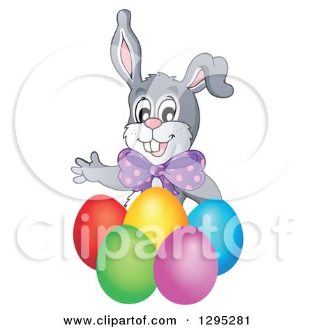Clipart of a Happy Gray Easter Bunny Rabbit Waving Behind Colorful Easter Eggs - Royalty Free Vector Illustration by visekart