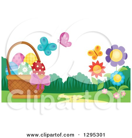 Clipart of a Basket of Easter Eggs with Butterflies and Flowers in a Spring Landscape - Royalty Free Vector Illustration by visekart
