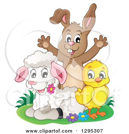 Happy Brown Bunny Rabbit Cheering Behind a Spring Lamb and Chick Posters, Art Prints